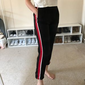 Side striped trouser with stretchy waist